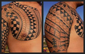 17fcf8b95 Roel traditional chest tattoo tells the stories of his battles,  accomplishments and rank in the
